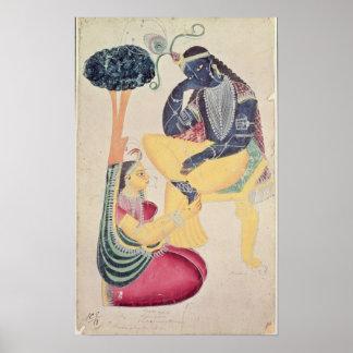 The God Krishna with his mortal love, Radha Poster