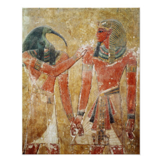 The god Thoth with Seti I  in the Tomb of Seti Posters