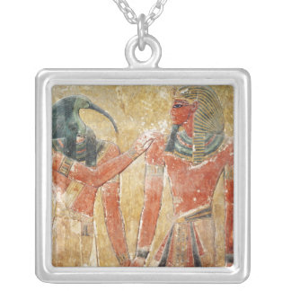 The god Thoth with Seti I  in the Tomb of Seti Silver Plated Necklace