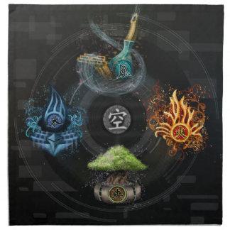The Godai five elements kanji art illustration Cloth Napkin