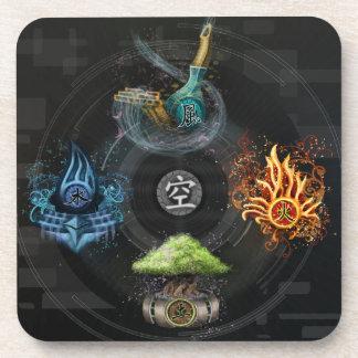The Godai five elements kanji art illustration Coaster