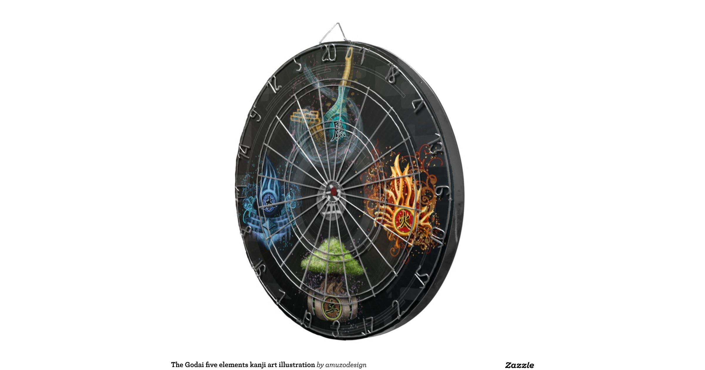 Five Elements Art : The godai five elements kanji art illustration dart board