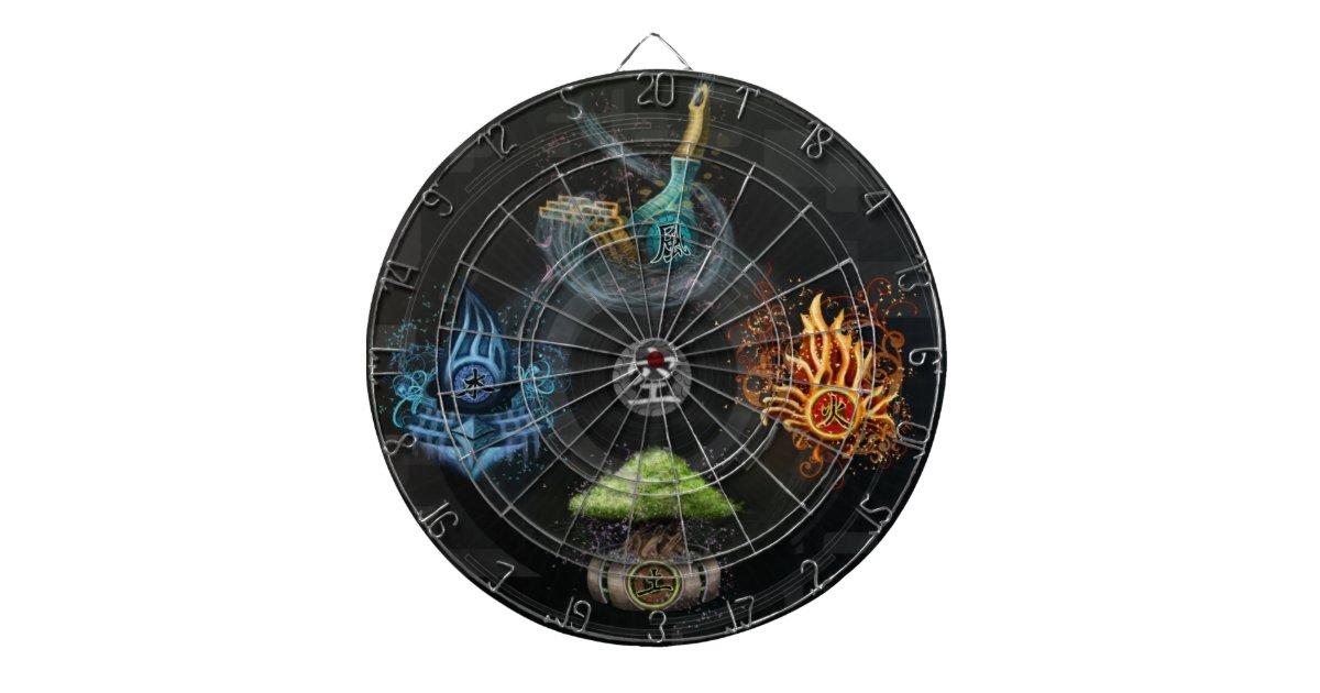 Five Elements Art : The godai five elements kanji art illustration dartboards