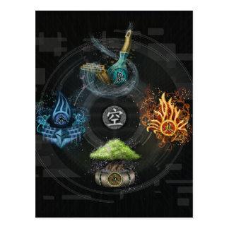 The Godai five elements kanji art illustration Postcard