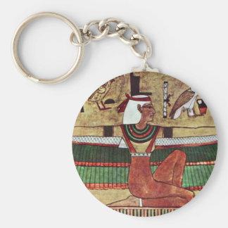 The Goddess Isis,  By Ägyptischer Maler Um 1360 Basic Round Button Keychain