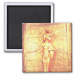 The goddess Selket on the canopic shrine 2 Inch Square Magnet