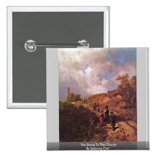 The Going To The Church By Spitzweg Carl Pinback Button