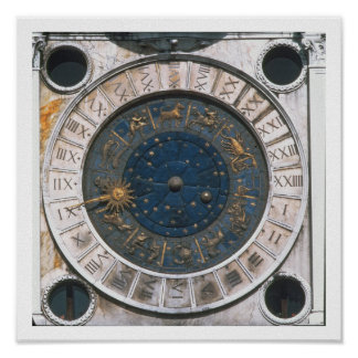 The gold and enamel clock face, design begun by Ma Poster