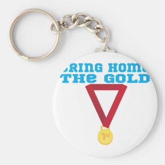 The Gold Basic Round Button Keychain