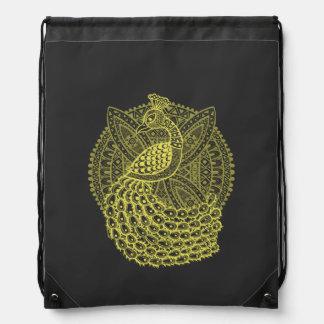 The Gold Peacock Drawstring Bag