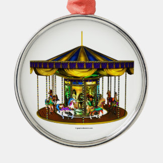 The Golden Carousel Round Metal Christmas Ornament