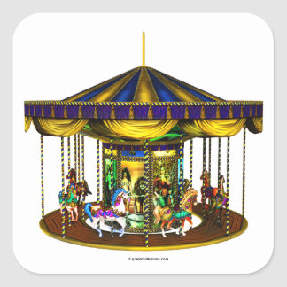 The Golden Carousel Square Stickers