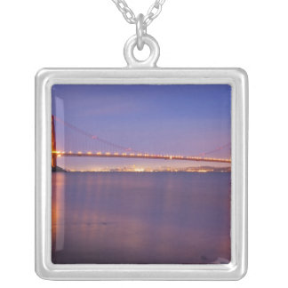 The Golden Gate Bridge at dusk from Kirby Cove Square Pendant Necklace