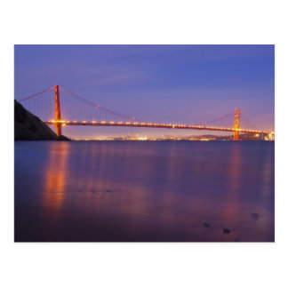 The Golden Gate Bridge at dusk from Kirby Cove Postcard