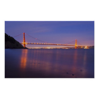 The Golden Gate Bridge at dusk from Kirby Cove Poster