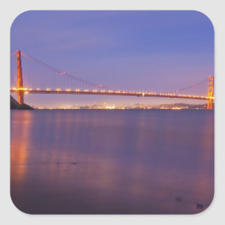 The Golden Gate Bridge at dusk from Kirby Cove Square Sticker