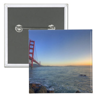 The Golden Gate Bridge at sunrise from Fort Pinback Button