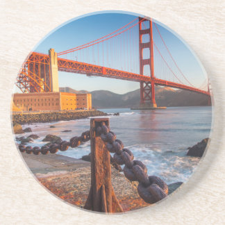 The Golden Gate Bridge From Fort Point Sandstone Coaster