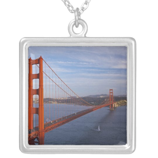 The Golden Gate Bridge from the Marin Silver Plated Necklace