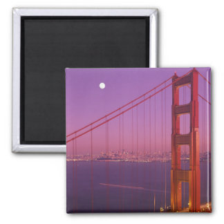 The Golden Gate Bridge shortly after sunset, 2 Inch Square Magnet