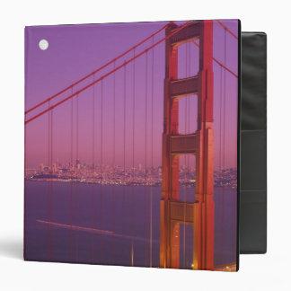 The Golden Gate Bridge shortly after sunset, 3 Ring Binder