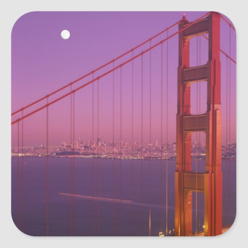 The Golden Gate Bridge shortly after sunset, Square Sticker