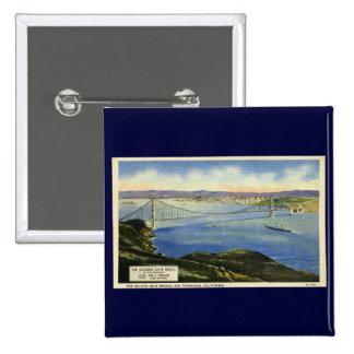 The Golden Gate Bridge Vintage Postcard Pinback Button