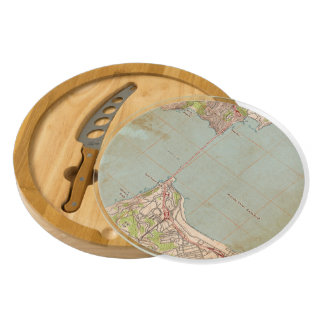 The Golden Gate Topographic Map Round Cheese Board