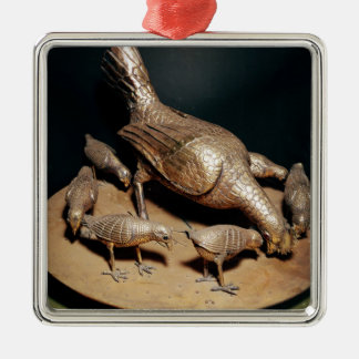 The Golden Hen and her Chicks Square Metal Christmas Ornament