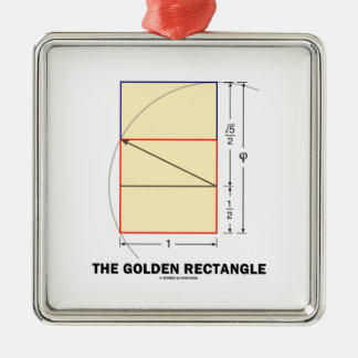 The Golden Rectangle (Geometry Math Ratio) Square Metal Christmas Ornament