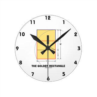 The Golden Rectangle (Geometry Math Ratio) Round Clock