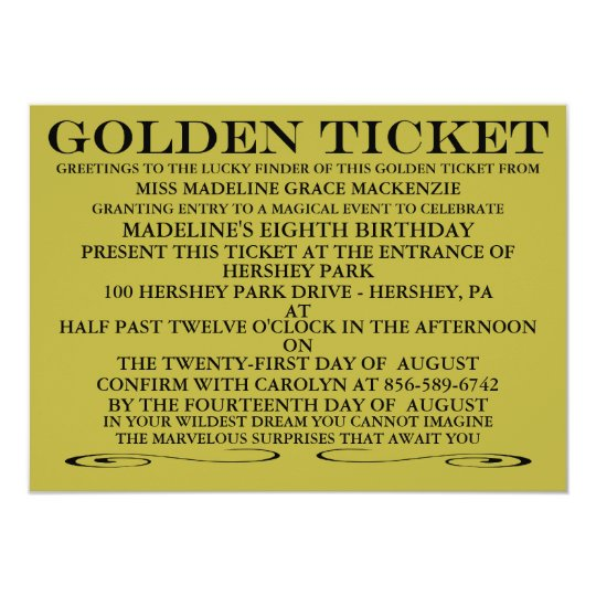 The Golden Ticket Birthday Invitation