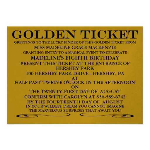 The Golden Ticket Metallic Gold Birthday Invites