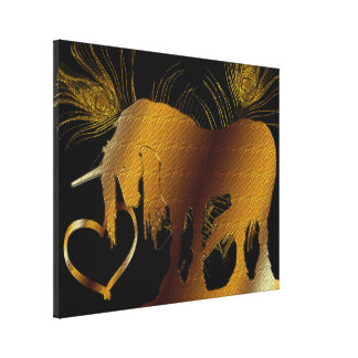 The Golden Unicorn (black) Wrapped Canvas