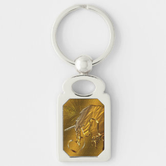 The Golden Unicorn (gold background) Silver-Colored Rectangular Metal Keychain