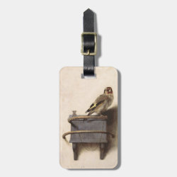 Small Luggage Tag with leather strap with The Goldfinch by Carel Fabritius design