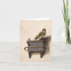 Small Folded Greeting Card with The Goldfinch by Carel Fabritius design