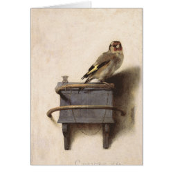 Note Card with The Goldfinch by Carel Fabritius design
