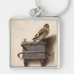 Premium Square Keychain with The Goldfinch by Carel Fabritius design