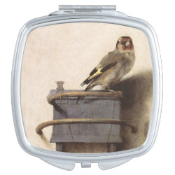 Square Compact Mirror with The Goldfinch by Carel Fabritius design