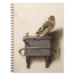 Photo Notebook (6.5' x 8.75', 80 Pages B&W) with The Goldfinch by Carel Fabritius design