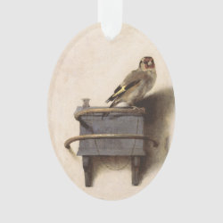 Oval Acrylic Ornament with The Goldfinch by Carel Fabritius design