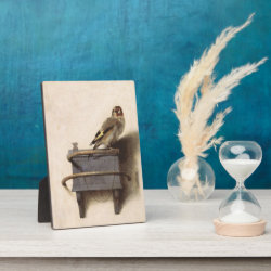 Photo Plaque 5' x 7' with Easel with The Goldfinch by Carel Fabritius design