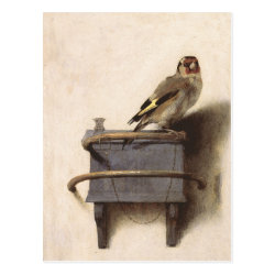 Postcard with The Goldfinch by Carel Fabritius design