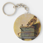 The Goldfinch., Puttertje  By Carel Fabritius Basic Round Button Keychain