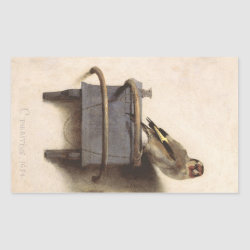 Rectangle Sticker with The Goldfinch by Carel Fabritius design