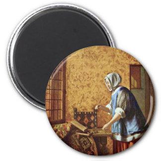 The Goldwägerin By Hooch Pieter De (Best Quality) 2 Inch Round Magnet