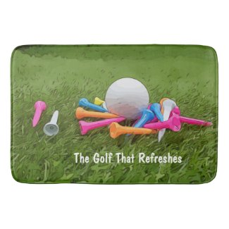 The Golf That Refreshes golf ball & colorful tees Bath Mat