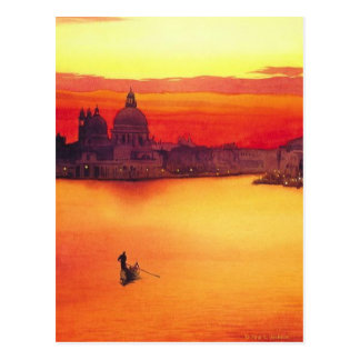 """The Gondolier"" Watercolor at Sunset Postcard"