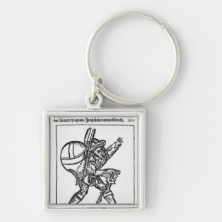 The Good Giant, from 'Gargantua' by Francois Silver-Colored Square Keychain